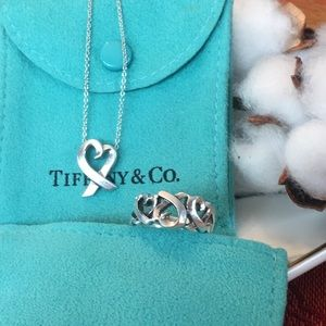 Tiffany &Co Loving Heart Necklace & Triple ♥️Ring